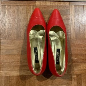 Red Leather Escada Pump